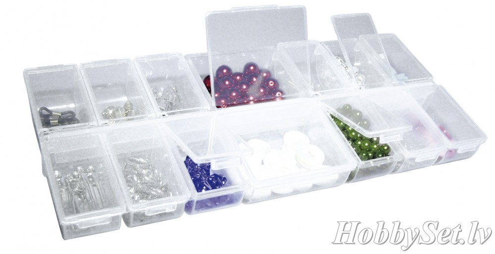 Empty plastic box, 14 compartments with flaps, transparent