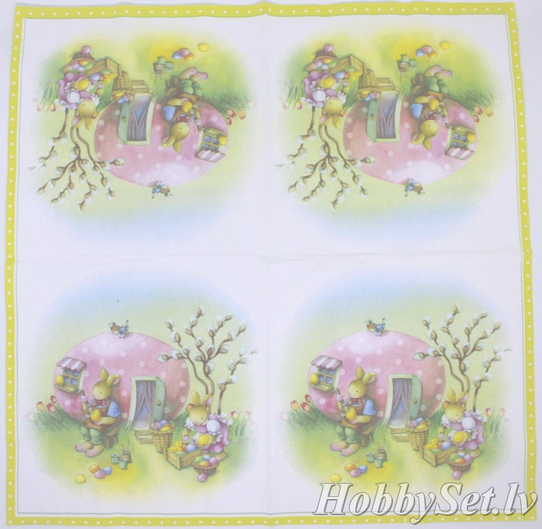 "Napkins for decoupage, 33x33 cm, 2 pcs, ""Easter Egg House"", L"